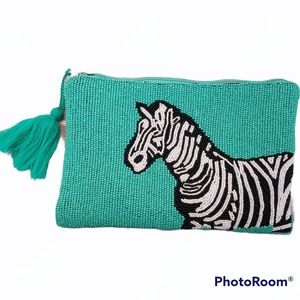 America and beyond beaded front embroided back zebra Cross body bag. Animal